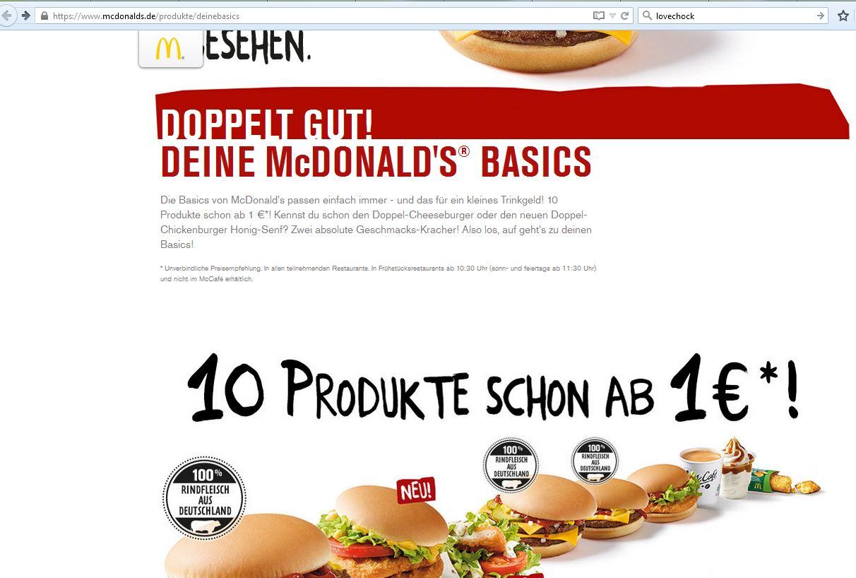 Angebots-Werbung 1 Euro auf mcdonalds.de   Lebensmittelklarheit
